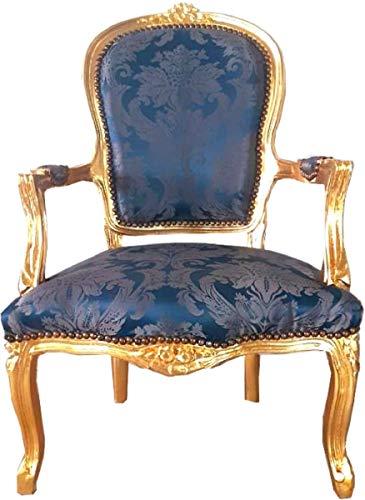 Casa Padrino sillón de salón Barroco Azul Real patrón/Oro 60 x 50 x A. 93 cm - Sillón de Estilo Antiguo Hecho a Mano con Fino Tejido Satinado - Muebles de Estilo Barroco