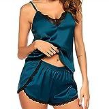 xffg Lencería de encaje de satén para mujer, color sólido, conjunto de pijama con cuello en V, pantalones cortos divididos para el hogar, verde, XL
