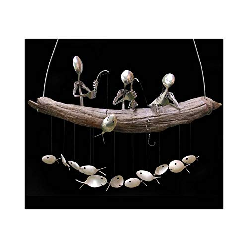 Floepx Fishing Man Spoon Windspiel, Fishing Man Spoon Fischskulpturen Windspiel, Indoor Outdoor Hängende Ornament Garden Patio Dekoration