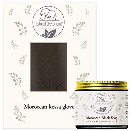 Natural Elephant Premium Kessa Hammam Glove and Moroccan Black Soap with Eucalyptus Essential Oil 200g (7oz) Combo Spa Exfoliation Kit