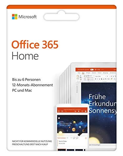 Microsoft Office 365 Home 1 Jahr, Allemand, pour Windows et Mac (Product Key Card sans Datenträger)