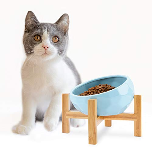 WANTRYAPET Ceramic Raised Cat Bowl with Wood Stand,Elevated Food or Water Bowls,Pet Food Water Feeder Cats Small Dogs(Blue)