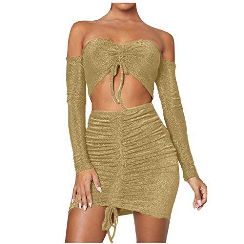 Vrouwen Mode Twee Stuk Set, Schouder Uit Lange Mouw Effen Kleur V-hals Lace up Korte Tops + Sexy Hip Verpakt Mini Rok Outfit