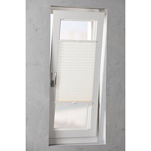 Original Easy-Shadow Plissee verspannt Faltstore in der Farbe weiß / Breite 33 cm x Höhe 90 cm / 33x90 cm - Montage im Rahmen in der Glasleiste / Maßanfertigung