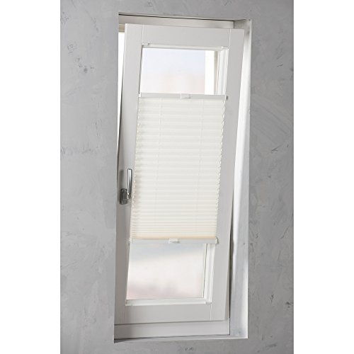 Original Easy-Shadow Plissee verspannt Faltstore in der Farbe weiß / Breite 38 cm x Höhe 80 cm / 38x80 cm - Montage im Rahmen in der Glasleiste / Maßanfertigung