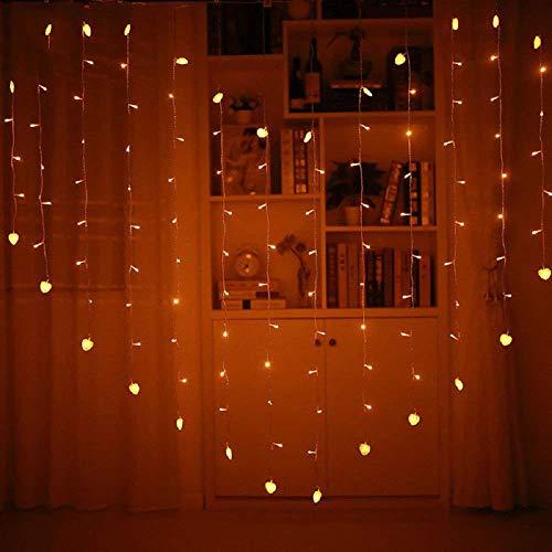 Cortina de luces LED, luz de paisaje, banquete de boda, decoración interior y exterior, lámpara de pared (forma de corazón)