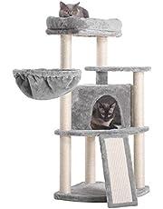 Hey-brother Drzewo dla kota 103 cm z pełnymi słupkami sizalowymi i deską do drapania, wieża dla kotów z wyściełaną pluszową okonią i przytulnym koszem MPJ003