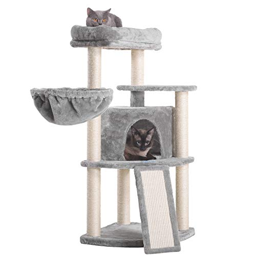 Hey-bro 40.5 inches Cat Tree with Full Sisal Posts and Scratching Board, Cat Tower with Padded Plush...