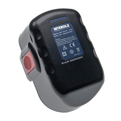 INTENSILO Batería compatible con Bosch GLI 24V, GMC 24V, GSA 24V, GSA 24VE, GSB 24VE-2, GSR 24VE-2, GST 24V herramientas eléctricas (3300mAh NiMH 24V)