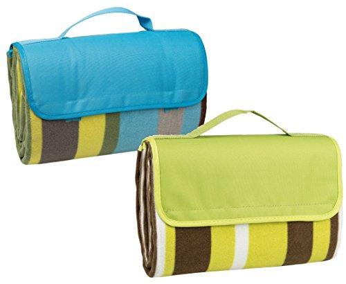 Idena Picknickdecke (150 x 135 cm, Doppelpack | grün/blau gestreift)