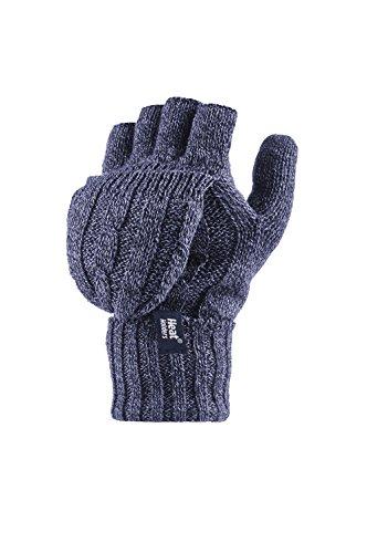 Heat Holders–fingerlose Damen-Thermohandschuhe. Zopfmuster, 2,3Tog, Einheitsgröße Gr. Einheitsgröße, blau