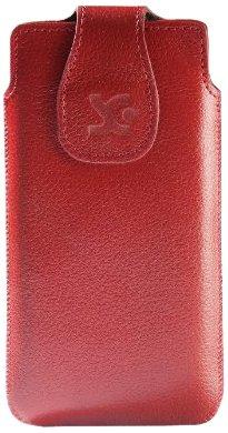Suncase - Custodia Originale in Vera Pelle per Sony Xperia T, Rosso a Grana Grossa