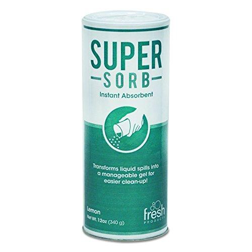 Fresh Products 614SSBX Super-Sorb Liquid Spill Absorbent, Powder, Lemon-Scent, 12 oz. Shaker Can, Box of 6