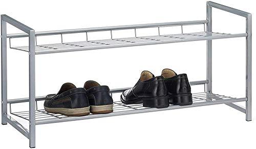 A-Generic Sistema de Zapatos Sistema Sticker Sticker Bandeja de Zapatos con 2 Compartimentos para Aprox. 8 Pares de Zapatos, 80 cm de Ancho, Metal Plateado Lacado-2
