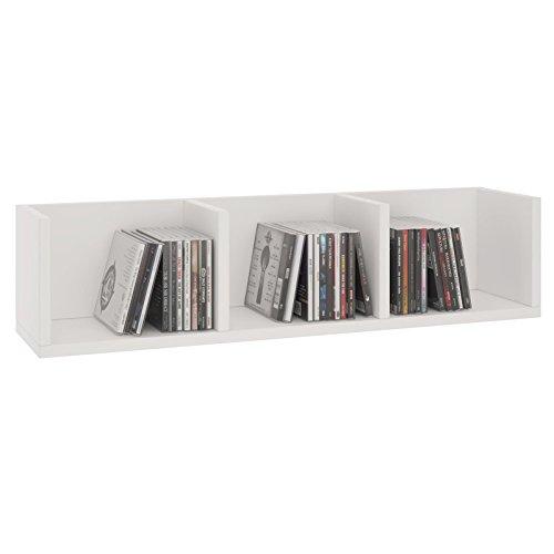 CARO-Möbel CD DVD Regal Stars Wandregal Hängeregal mit 3 Ablagefächern in weiß, Dekorationsregal