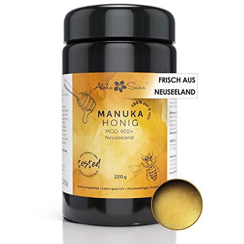 Aloha Sana | Manuka Honig 400+ MGO aus Neuseeland (220g) | Manuca honey MGO 400+ | Qualitätshonig im Ultraviolettglas | Laborgeprüft und zertifiziert