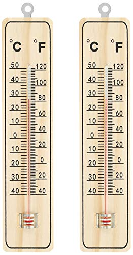 com-four® 2X Thermometer - Holz-Thermometer für drinnen - Temperaturmesser mit Skala in Grad Celsius und Grad Fahrenheit (04 Stück - 22x5x1cm)