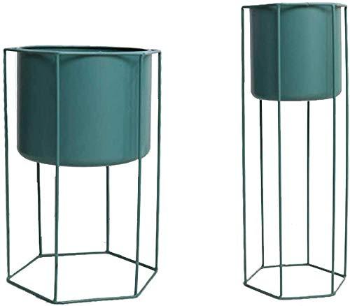Soporte de hierro con lneas de metal para macetas, soporte para macetas con maceta para jardn, hogar, oficina, decoracin de interiores y exteriores, color verde, 3450 cm