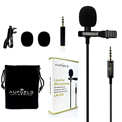 Professional Best Small Mini Lavalier Lapel Lav Condenser Microphone for Apple iPhone Android Windows Smartphones Clip On Interview Youtube Video Voice Podcast Noise Cancelling Mic