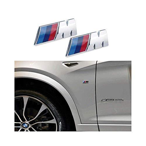 AutoFullCar- 2 Embleme M Logo B M W Chrom speziell für Autoflügel