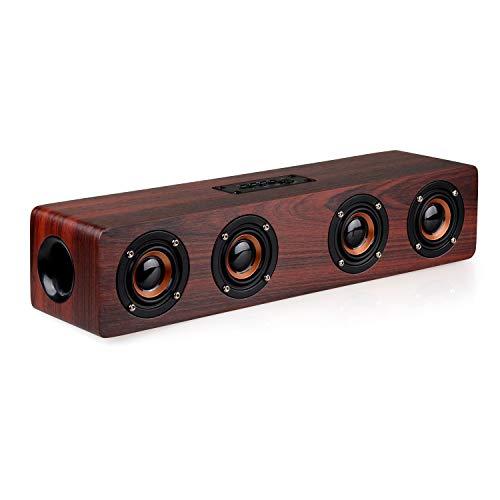 Bluetoothスピーカー PC サウンドバー 木製 マイク内蔵 ワイヤレス 12W 2.0ch テレビ TV/PC対応 Soundbar Speaker シアターバー USB AUX TFカード対応 高音質 日本語取扱説明書 (ウォールナットウッド)