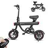 DYU Folding Electric Bike Ebike, 12' Electric Commuter Bicycle with 10AH Lithium-Ion Battery, 15.5MPH, 3 Riding Modes, Dual Disc Braking…