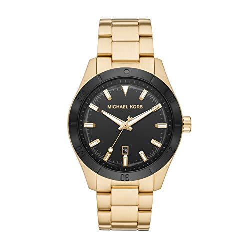 Michael Kors Men's Layton Quartz Watch with Stainless Steel Strap, Gold, 22 (Model: MK8816)