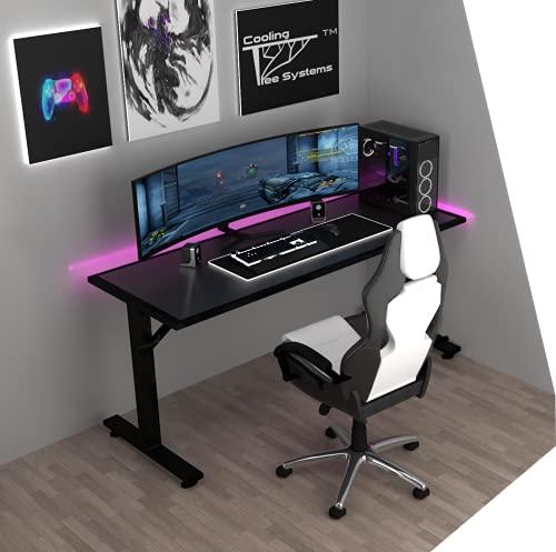 Cooling Tree Systems Escritorio Gamer CTS Black M LED RGB Bluetooth - Fabricado en Acero Estructural - para Computadora y Oficina - Mesa Gaming Robusta y de Alta Calidad - Hecho en...