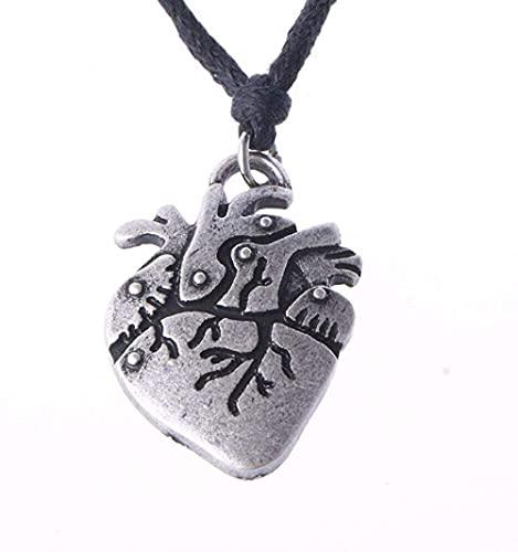 NC198 Collar de corazón Punk, Colgante de biología gótica, joyería de Regalo para Estudiante de Medicina, Enfermera