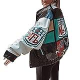 ORANDESIGNE Chaqueta de Bombardero para Mujer Chaqueta de Chándal College Cremallera Oversized Patchwork Chaquetas de Impresión Vintage Abrigo de Béisbol Sweat Jacket B Verde S