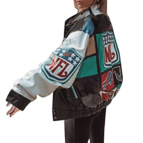 ORANDESIGNE Bomberjacke Damen Sweatjacke Ladies College Sweat Jacket Reißverschluss Für Frauen Oversized Patchwork Jacke Vintage Druck Jacken Baseball Mantel Sport Jacke B Grün XL