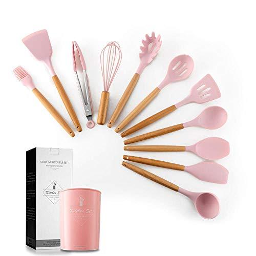 Utensilios Cocina,Juego de utensilios de cocina de silicona, utensilios de cocina antiadherentes resistentes al calor, herramientas para hornear con caja de almacenamiento, utensilios de cocina-Rosa