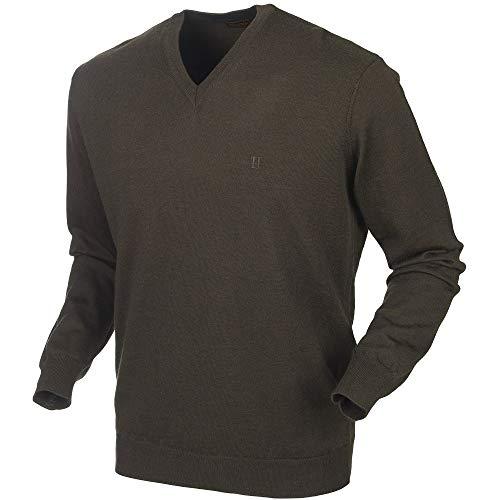 Härkila Glenmore - Jersey de Caza para Hombre, Color marrón, de Lana de Merino con Cuello en V