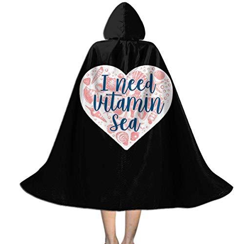 bishishengbibaihu Kids Hooded Cape Cloak I Need Vitamin Sea Seashell Heart Cloak for Children for Halloween