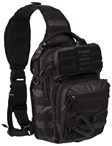 Mil-Tec Mochila de asalto (diseño del ejército estadounidense, con una correa, tamaño pequeño), Hombre, 14059288, Tactical Black, talla única