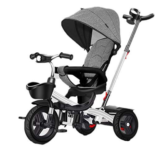 GCXLFJ Triciclo Bebe Niño 4 En 1 Plegable Triciclo,1-6 Años De Edad Infantil Sombrilla Triciclos ,Triciclo con Asa,Regalo De Cumpleaños,2 Colores (Color : White)