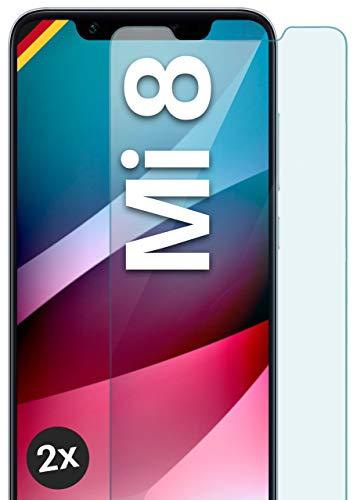 moex Panzerglas kompatibel mit Xiaomi Mi 8 - Schutzfolie aus Glas, bruchsichere Bildschirmschutz Folie, Crystal Clear Panzerglasfolie, 2X Stück