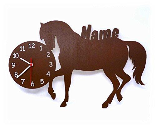 Wand Uhr Pferd Pferde Sachen mit Name Deko Zubehör Geschenk Mädchen Kinderzimmer Lernuhr Einschulung