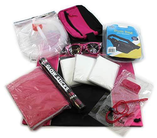 Giftsbynet Music Festival Camping Survival Kit Pack Bag Poncho Glowstick Bum Bag Zonnebril en nog veel meer