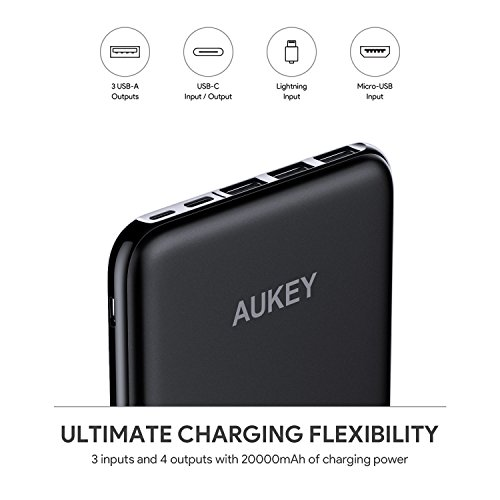AUKEY USB C Power Bank 20000mAh Caricabatterie Portatile con 4 Porte e 3 Ingressi per iPhone X/8/7/Plus/6, Samsung S8/S8+, Nexus 6P, iPad, Tablets