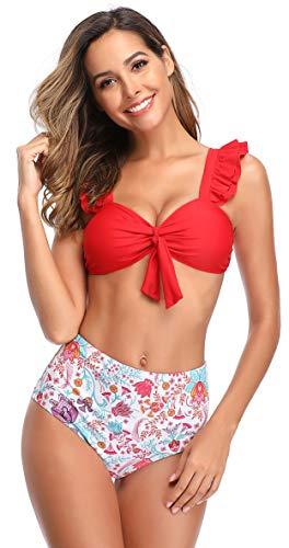 SHEKINI Damen Volant Zweiteiliger Bikini Blumendruck High Waist Hose Bauchweg Bikinis Gepolsterte Push Up Einlagen Grossen Grössen Bikini Set (Medium, Rot)