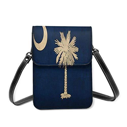 XCNGG Leichte Lederhandtasche für Frauen, Vintage USA Staatsflagge South Carolina Flagge Kleine Umhängetasche Mini-Handytasche Umhängetasche