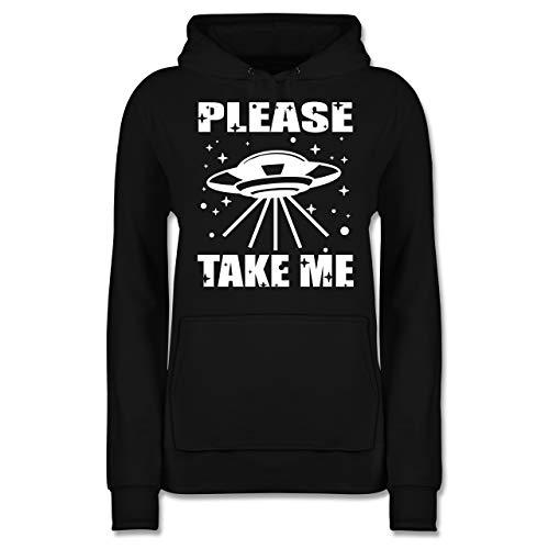 Nerds & Geeks - Please take me - weiß - M - Schwarz - Statement - JH001F - Damen Hoodie und Kapuzenpullover für Frauen