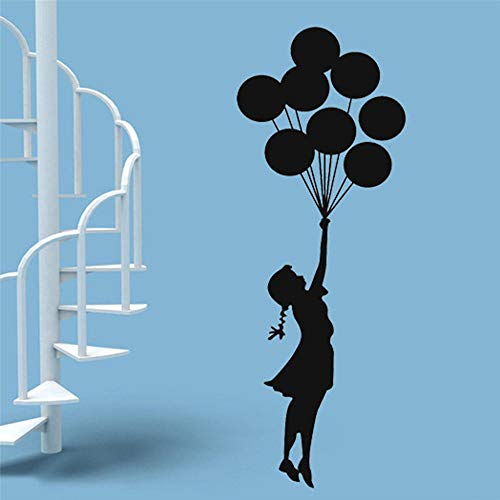 Banksy Muursticker Drijvende Ballon Meisje Banksy Art Huisdecoratie Vinyl Muursticker Zelfklevende Graffiti DIY Home Decoratie