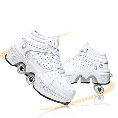Hmlopx Multifunción Deformación Patines De Ruedas Invisible Cuatro Ruedas Ajustable Patines Doble Fila Zapatos De Ruedas Zapatos Deportivos Al Aire Libre,White High Top,39EU/8.5US