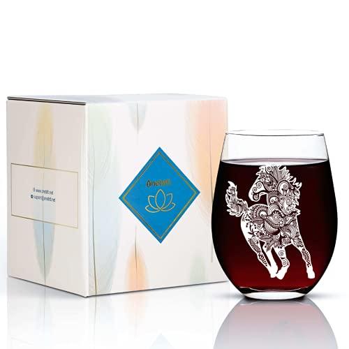Weinglas Pferd Tumbler 500ml Stielloses Weinglas mit Mandala Pferd Perfektes Geschenk für Pferdeliebhaber Männer Frauen Mädchen an Weihnachten Geburtstag Thanksgiving