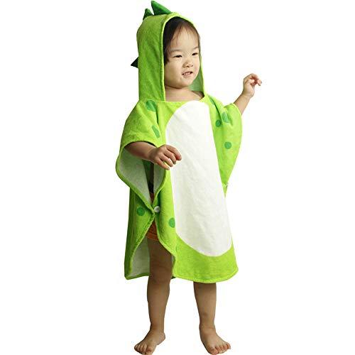 MOMIN-HM Kinder Umhang Strandtuch Dinosaurier Muster Niedlich Mit Kapuze Ändern Poncho Handtuch Ultra Soft Strand Pool Badetuch Bademantel für Jungen Mädchen (Farbe : Grün)