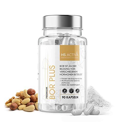 HS Activa® Premium Bor (Boron) - [5 mg Borsäure pro Kapsel] - Zusätzlich 150 mg Magnesiumcitrat - Täglich 1 Kapsel - 90 Kapseln - Hochdosiert & ohne Zusatzstoffe