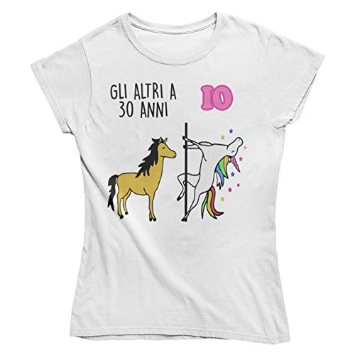 Vulfire Maglietta da Donna Idea Regalo per Compleanno, Regalo 30 Anni, Festa dei 30 Anni, trent'anni t Shirt Unicorno (Bianco, M)