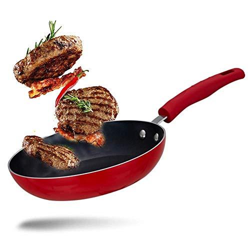Kochtopf Antihaft-Wok Spiegeleier, Pfannkuchen, gebratenes Steak, Kochtopf, Grill, Picknick bequem zu reinigen Wok Induction Red, 24CM
